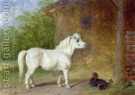 A Shetland pony and a King Charles spaniel by Martin Theodore Ward - Reproduction Oil Painting
