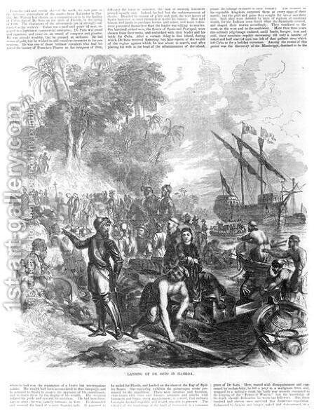 Landing of De Soto in Florida, from Ballous Pictorial Drawing-Room Companion, 1855 by Asa Coolidge Warren - Reproduction Oil Painting