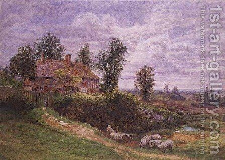 A Country Scene with windmills by Bonami Edward Warren - Reproduction Oil Painting