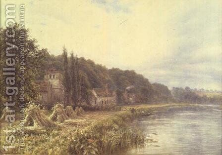 Riverside Village with figures fishing by Edmund George Warren - Reproduction Oil Painting