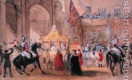 The Lord Mayor Standing Ready to Greet Queen Victoria (1819-1901) at Temple Bar in 1837 by Henry Warren - Reproduction Oil Painting