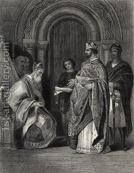 Henry II presenting the Pope's Bull to the Archbishop of Cashel, engraved by G. Greatbach by Henry Warren - Reproduction Oil Painting