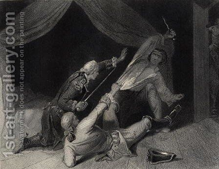 The Capture of Lord Edward Fitzgerald for High Treason, engraved by J.Rogers by Henry Warren - Reproduction Oil Painting