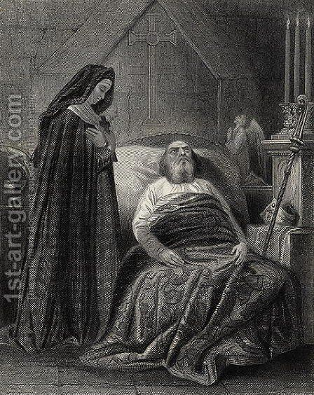 The Death of St. Patrick, engraved by J.Rogers by Henry Warren - Reproduction Oil Painting