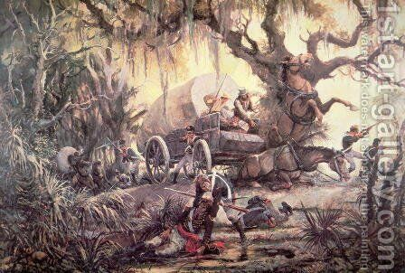 Seminole indians ambush a US marines supply wagon, 11th September 1812 by C.H. Waterhouse - Reproduction Oil Painting