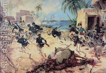 U.S. Marines Capture the Barbary pirate fortress at Derna, Tripoli, 27th April 1805 by C.H. Waterhouse - Reproduction Oil Painting