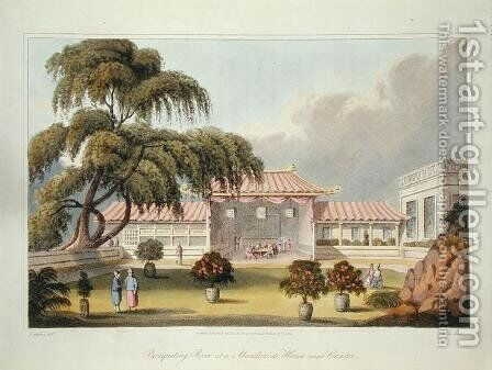 Banqueting Room at a Mandarins House near Canton, from 'Journal of a voyage, in 1811 and 1812 to Madras and China, engraved by J. Clark, published 1814 by (after) Wathen, James - Reproduction Oil Painting