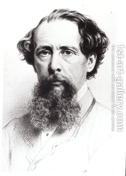 Portrait of Charles Dickens (1812-70), 1861 by (after) Wathen, James - Reproduction Oil Painting