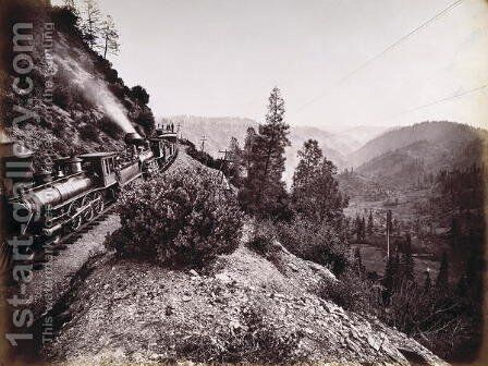 Central Pacific Railroad Train and Coaches in Yosemite Valley, 1861-69 by Carleton Emmons Watkins - Reproduction Oil Painting