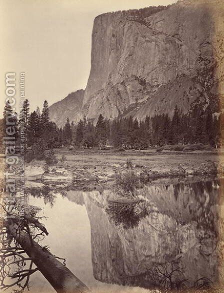 Mirror view of El Capitan, Yosemite, USA, 1872 by Carleton Emmons Watkins - Reproduction Oil Painting