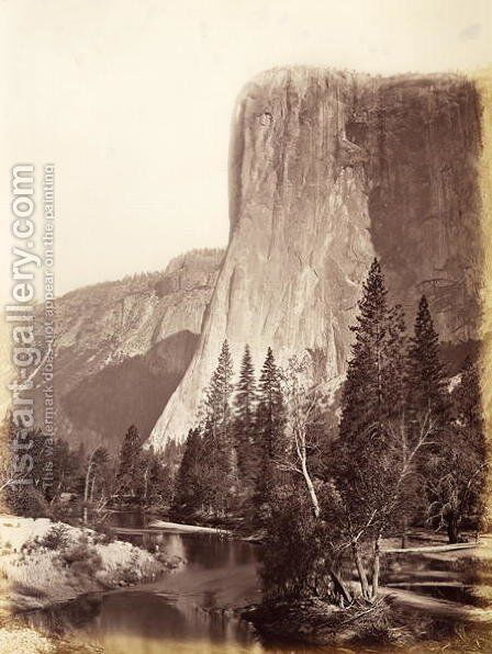 El Capitan, Yosemite National Park, USA, 1861-75 by Carleton Emmons Watkins - Reproduction Oil Painting