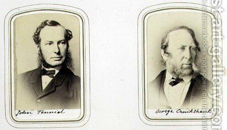 Portraits of Sir John Tenniel (1820-1914) and George Cruikshank (1792-1878) c.1860 by J.C. Watkins - Reproduction Oil Painting