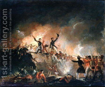Repulsion of the British at Fort Erie, 15th August 1814, 1840 by E. C. Watmough - Reproduction Oil Painting