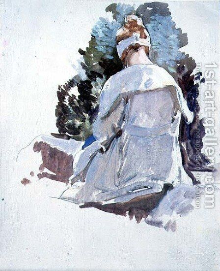 Woman in a white dress sitting upon rocks by Harry Watson - Reproduction Oil Painting