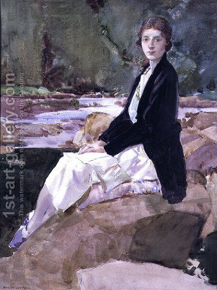 Young woman sitting upon rocks by Harry Watson - Reproduction Oil Painting