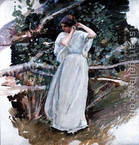 Young woman in a long white dress by Harry Watson - Reproduction Oil Painting