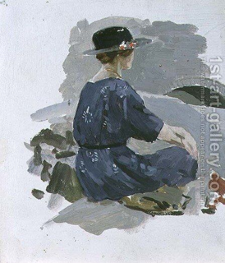 Woman in a blue dress and wide brimmed hat sitting upon rocks by Harry Watson - Reproduction Oil Painting