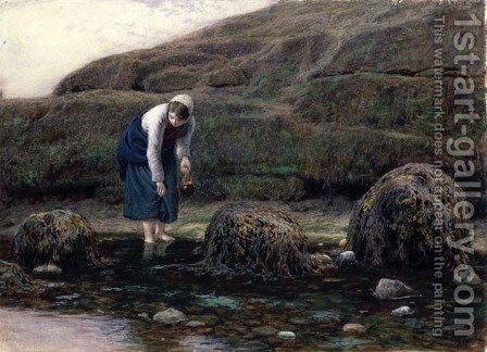 The Winkle Gatherer, 1869 by James Dawson Watson - Reproduction Oil Painting