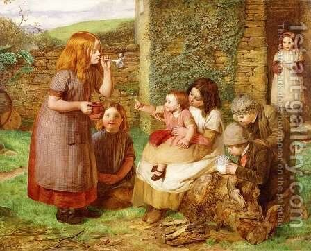 Bubbles: Cottage Scene with Children at Play by James Dawson Watson - Reproduction Oil Painting