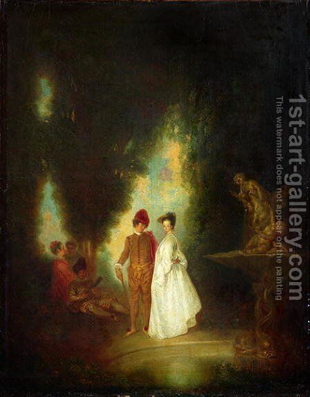 The Fountain, 1720-99 by (after) Watteau, Jean Antoine - Reproduction Oil Painting