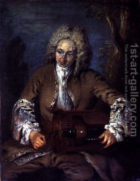Man Playing a Hurdy-Gurdy by (attr. to) Watteau, Jean Antoine - Reproduction Oil Painting