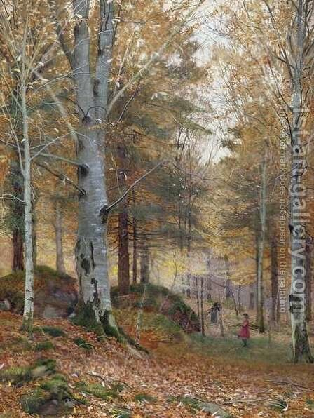Autumn in the Woods by James Thomas Watts - Reproduction Oil Painting