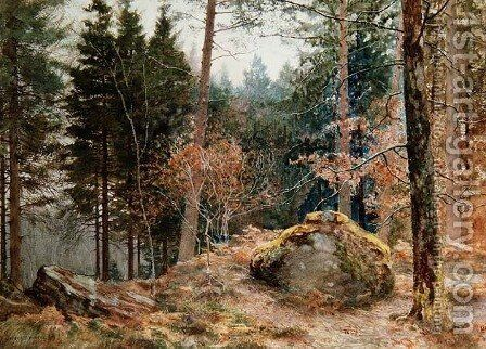 In a Welsh wood, winter by James Thomas Watts - Reproduction Oil Painting