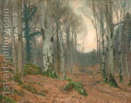 A Welsh Wood in Winter by James Thomas Watts - Reproduction Oil Painting