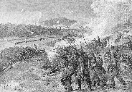 The Battle of Resaca, Georgia, May 14th 1864, illustration from Battles and Leaders of the Civil War, edited by Robert Underwood Johnson and Clarence Clough Buel by Alfred R. Waud - Reproduction Oil Painting