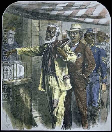 The First Vote for black voters in the South during state elections of 1867 by Alfred R. Waud - Reproduction Oil Painting