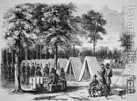 Pennsylvania soldiers voting at the Army of the James headquarters in September 1864, from Harpers Weekly, 29th October 1864 by Alfred R. Waud - Reproduction Oil Painting