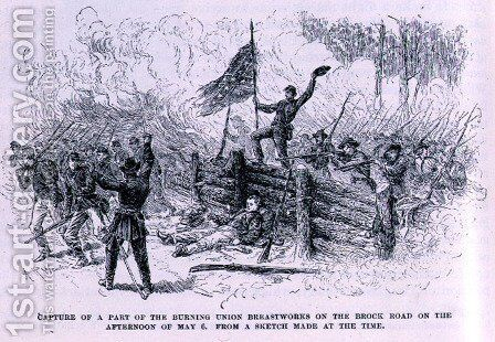 Capture of a part of the burning union breastworks on the Brock Road on the afternoon of May 6th, illustration from 'Battles and Leaders of the Civil War', edited by Robert Underwood Johnson and Clarence Clough Buel by Alfred R. Waud - Reproduction Oil Painting