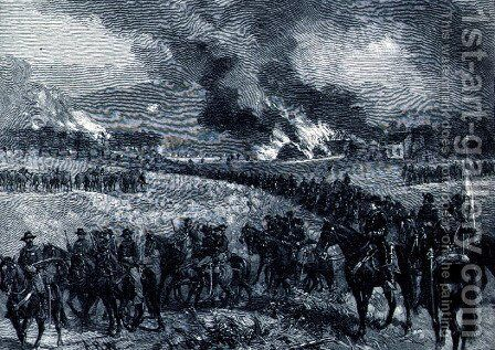 The rear-guard: General Custers division retiring from Mount Jackson, October 7th 1864, illustration from Battles and Leaders of the Civil War, edited by Robert Underwood Johnson and Clarence Clough Buel by Alfred R. Waud - Reproduction Oil Painting
