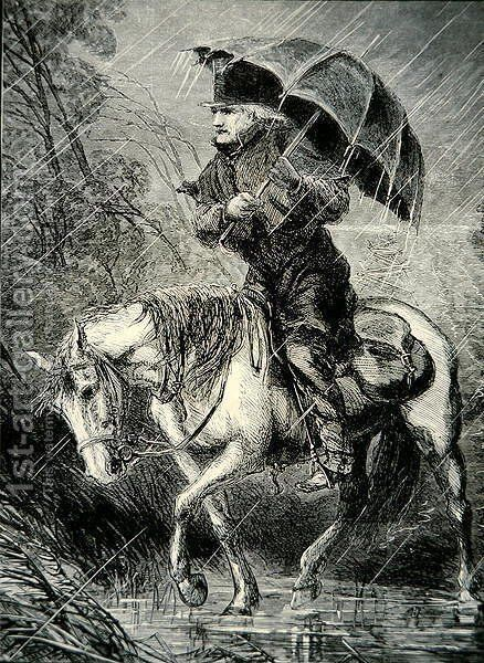 The Circuit Rider, illustration from Harpers Weekly, 12th October 1867 by Alfred R. Waud - Reproduction Oil Painting
