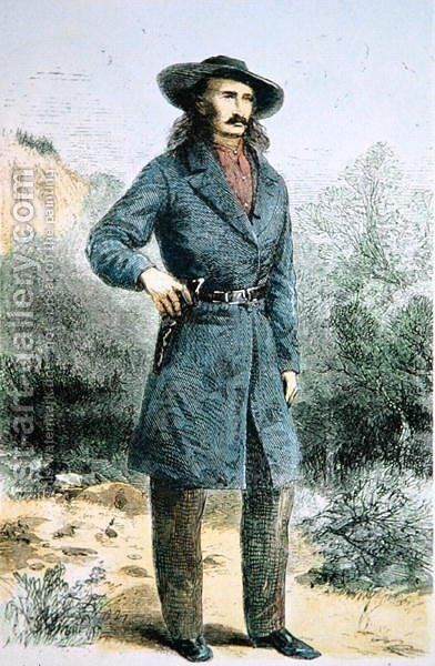 The first published picture of Wild Bill Hickok (1837-76) printed in Harpers magazine, February 1867 by Alfred R. Waud - Reproduction Oil Painting