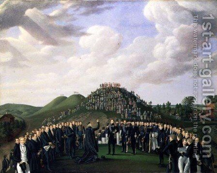 King Carl XIV Johan (1763-1844) of Sweden Visiting the Mounds at Old Uppsala in 1834, 1836 by Johan Way - Reproduction Oil Painting