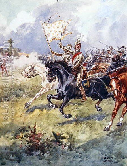 A thousand knights are pressing close behind, illustration from Ballads of Famous Fights, c.1900 by Archibald Webb - Reproduction Oil Painting
