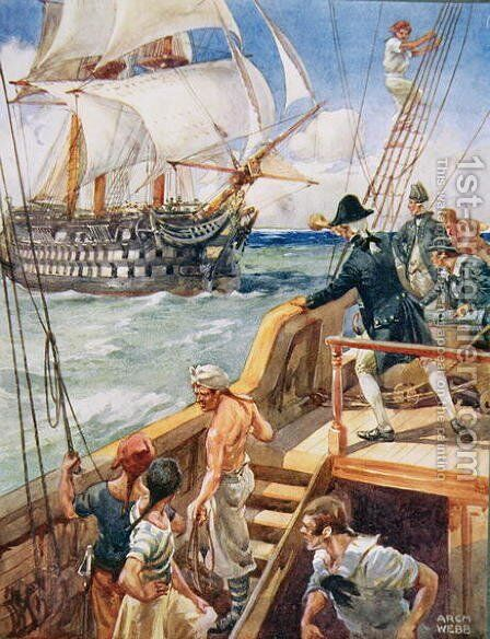 Our Captain Hailed the Frenchman Ho!, illustration from Ballads of Famous Fights, c.1900 by Archibald Webb - Reproduction Oil Painting