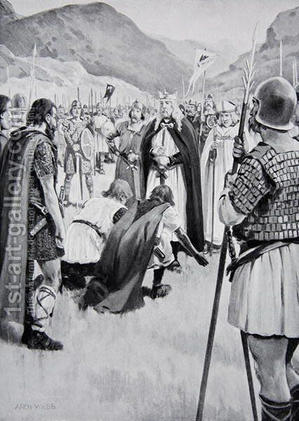 The Council of Dacor, 926, when Athelstan drove out Guthfrith the young King of Danish Northumbria, illustration from the book The History of the Nation by Archibald Webb - Reproduction Oil Painting