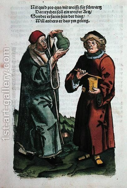 St. Damian and St. Cosmas, illustration from the Feldtbuch der Wundartzney by Hans von Gersdorff, c.1540 by Hans or Johannes Ulrich Wechtlin - Reproduction Oil Painting