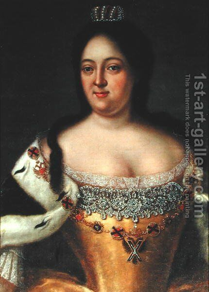 Portrait of Empress Anna Ioannovna (1693-1740) by Johann Heinrich Wedekind - Reproduction Oil Painting