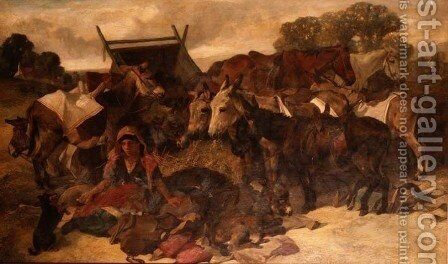 Waiting for Hire, Hampstead Heath by Henry Weekes - Reproduction Oil Painting