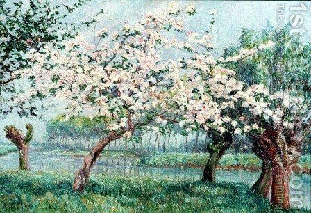 Apple Blossom on the Rivers Edge by Anna de Weert - Reproduction Oil Painting