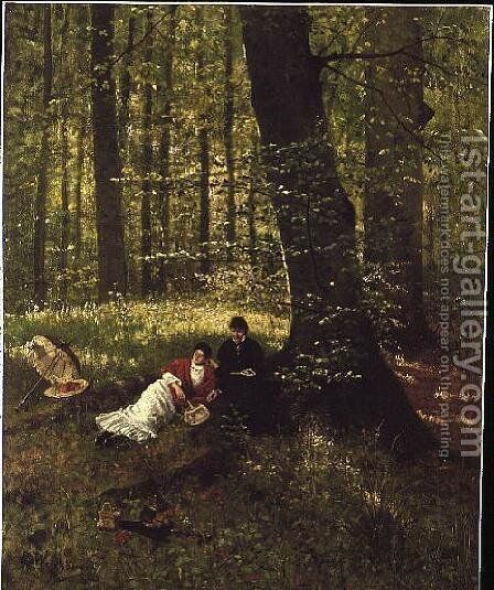Reading in the Woods by Eduard Weichberger - Reproduction Oil Painting