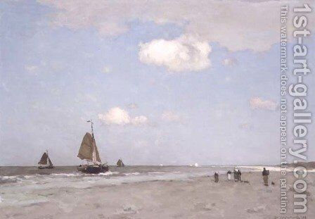 Beach scene, 1887 by Johan Hendrik Weissenbruch - Reproduction Oil Painting