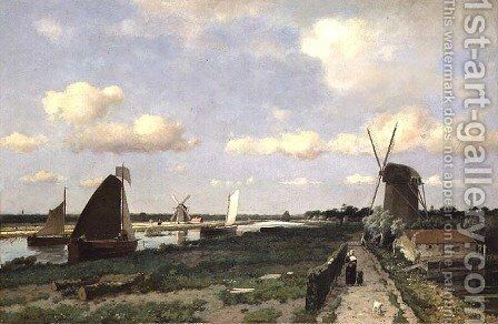 View of the Trekvliet canal near The Hague, 1870 by Johan Hendrik Weissenbruch - Reproduction Oil Painting