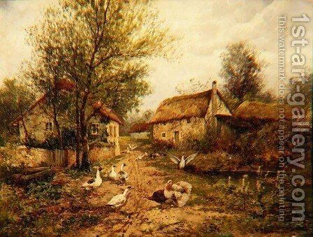 Poultry by a Pond in a Farmyard by Johan Hendrik Weissenbruch - Reproduction Oil Painting