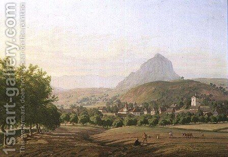 View of Mirosovice Castle in the Spring, 1840 by Carl Robert Croll - Reproduction Oil Painting