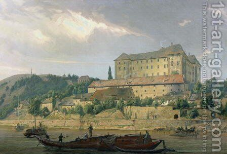 View of Nelahozeves from the River Vltava, 1841 by Carl Robert Croll - Reproduction Oil Painting