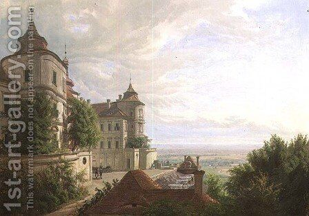 View with the Courtyard at Jezeri Castle, 1843 by Carl Robert Croll - Reproduction Oil Painting